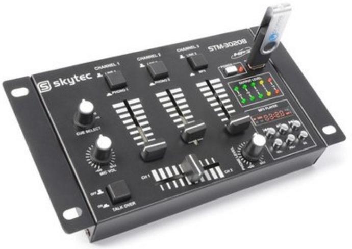 Skytec STM-3020B 4-Kanaals mengpaneel USB/MP3 - Zwart